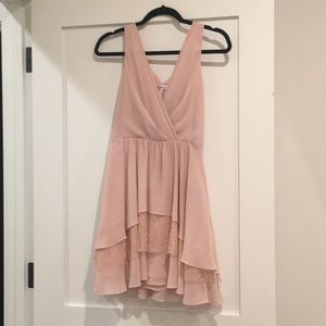 Pink BCBG dress with ruffles and lace